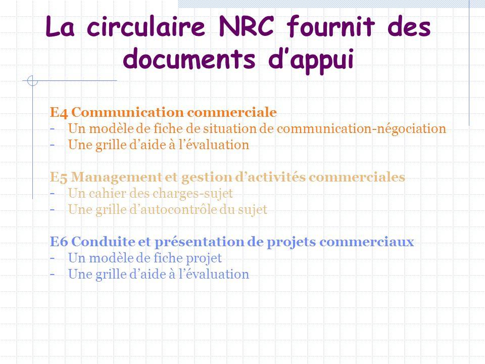La circulaire NRC fournit des documents dappui E4 Communication commerciale - Un modèle de fiche de situation de communication-négociation - Une grill