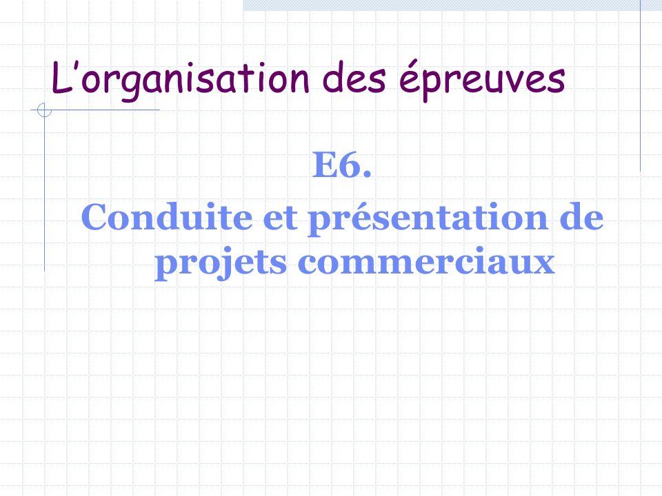 Lorganisation des épreuves E6. Conduite et présentation de projets commerciaux