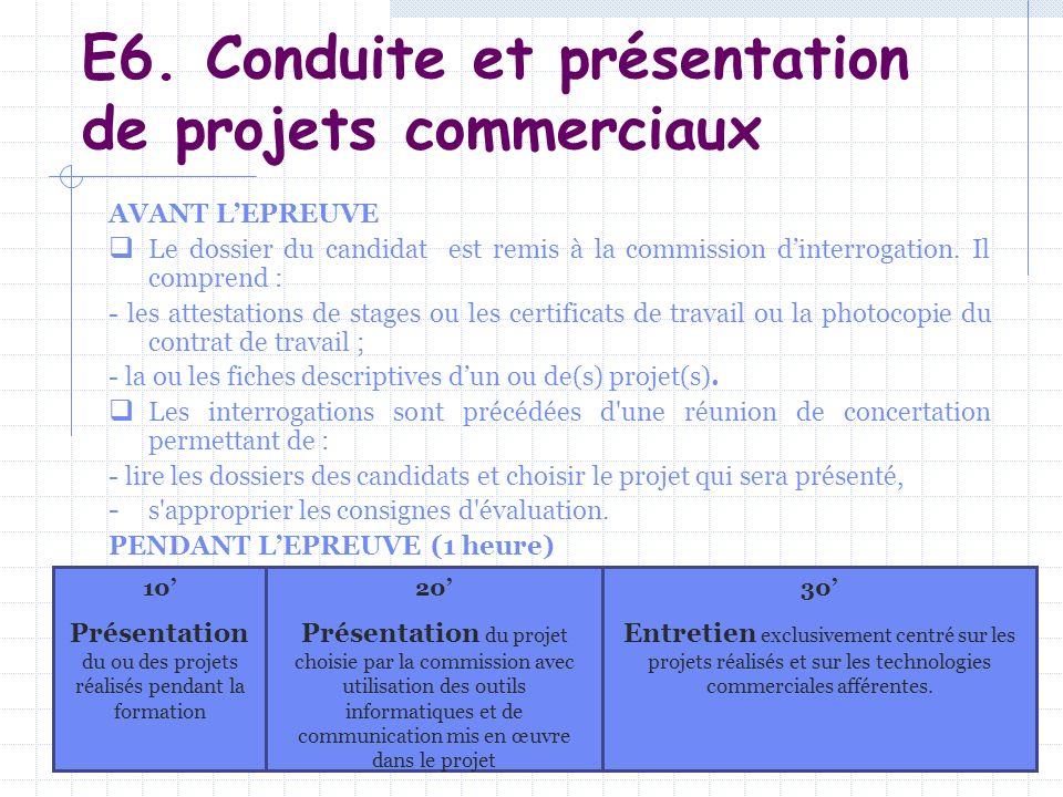 E6. Conduite et présentation de projets commerciaux AVANT LEPREUVE Le dossier du candidat est remis à la commission dinterrogation. Il comprend : - le