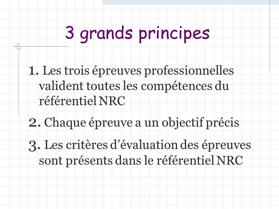3 grands principes 1. Les trois épreuves professionnelles valident toutes les compétences du référentiel NRC 2. Chaque épreuve a un objectif précis 3.