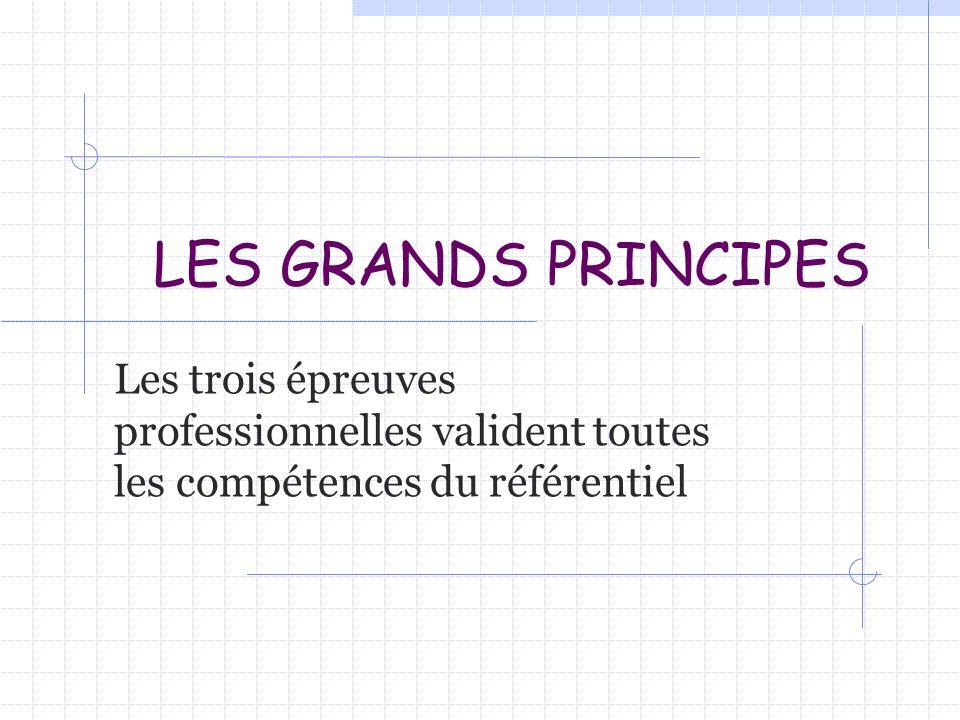 LES GRANDS PRINCIPES Les trois épreuves professionnelles valident toutes les compétences du référentiel