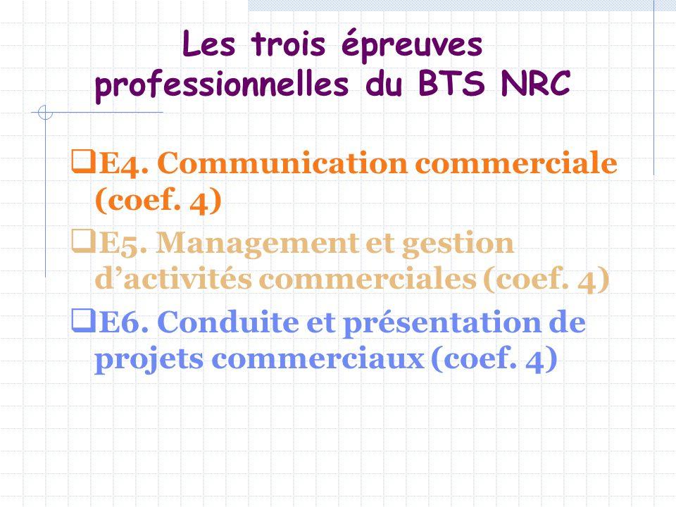 Les trois épreuves professionnelles du BTS NRC E4. Communication commerciale (coef. 4) E5. Management et gestion dactivités commerciales (coef. 4) E6.