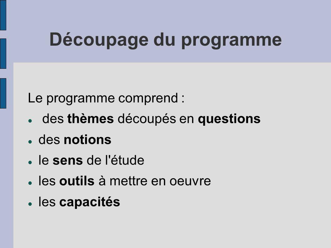 Découpage du programme Le programme comprend : des thèmes découpés en questions des notions le sens de l'étude les outils à mettre en oeuvre les capac