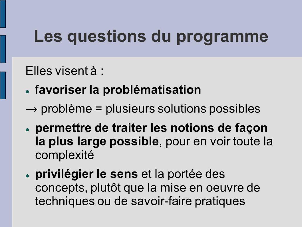 Les questions du programme Elles visent à : favoriser la problématisation problème = plusieurs solutions possibles permettre de traiter les notions de