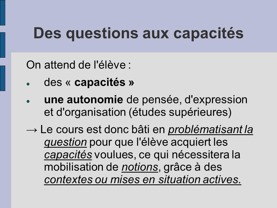 Des questions aux capacités On attend de l'élève : des « capacités » une autonomie de pensée, d'expression et d'organisation (études supérieures) Le c