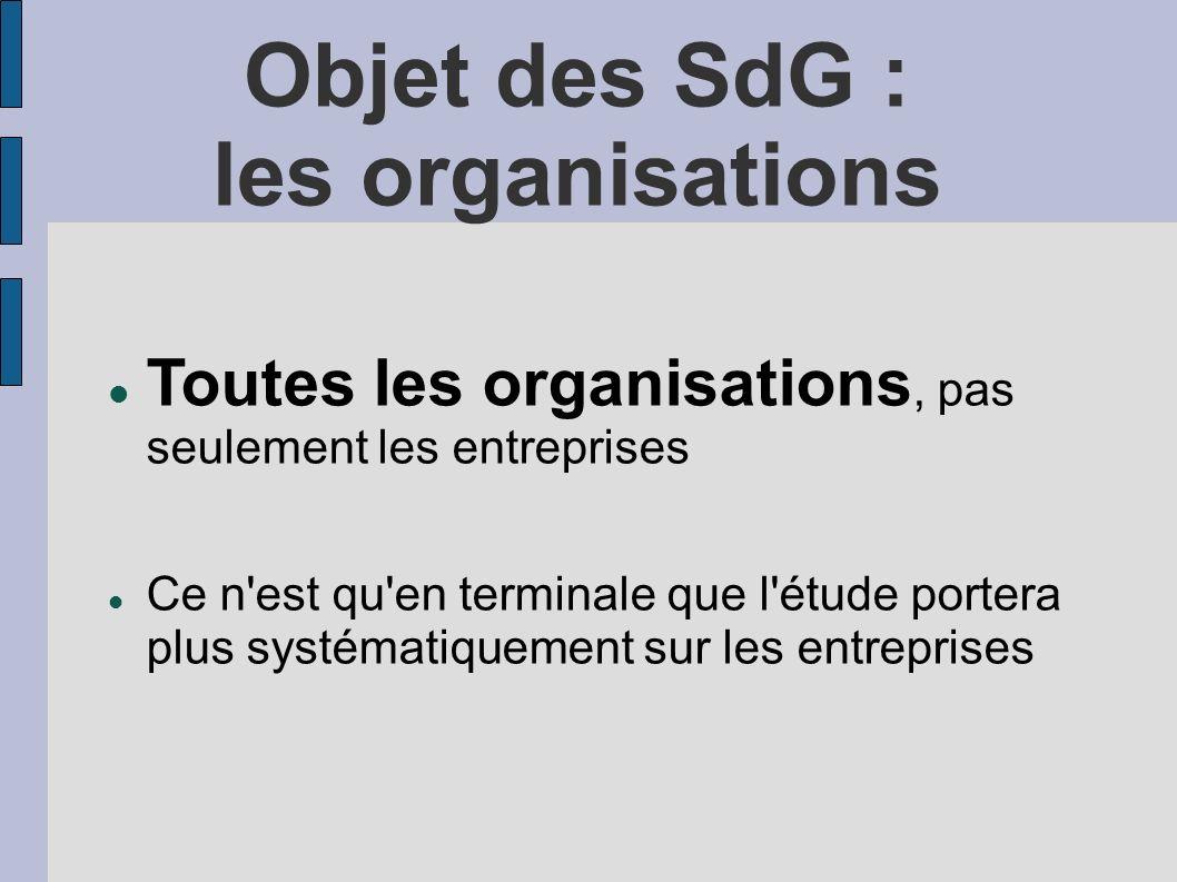 Objet des SdG : les organisations Toutes les organisations, pas seulement les entreprises Ce n'est qu'en terminale que l'étude portera plus systématiq