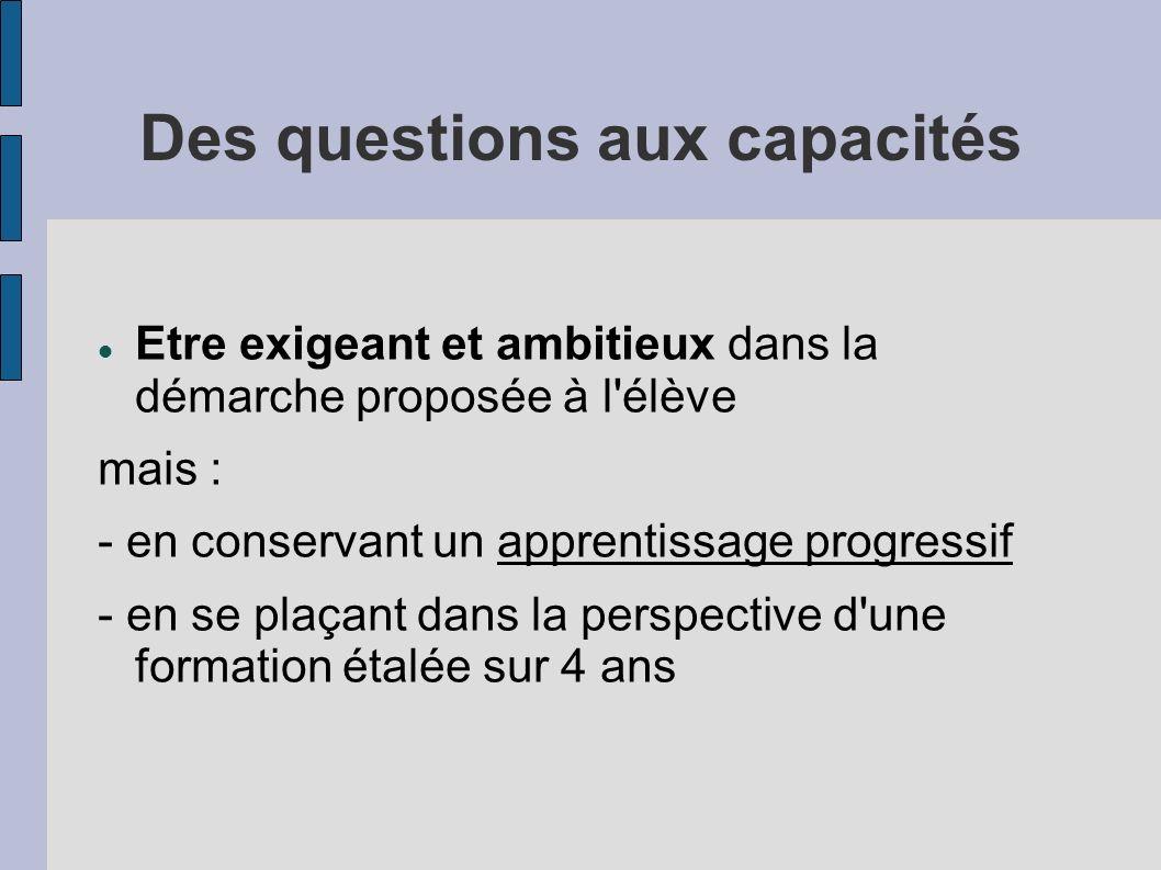 Des questions aux capacités Etre exigeant et ambitieux dans la démarche proposée à l'élève mais : - en conservant un apprentissage progressif - en se