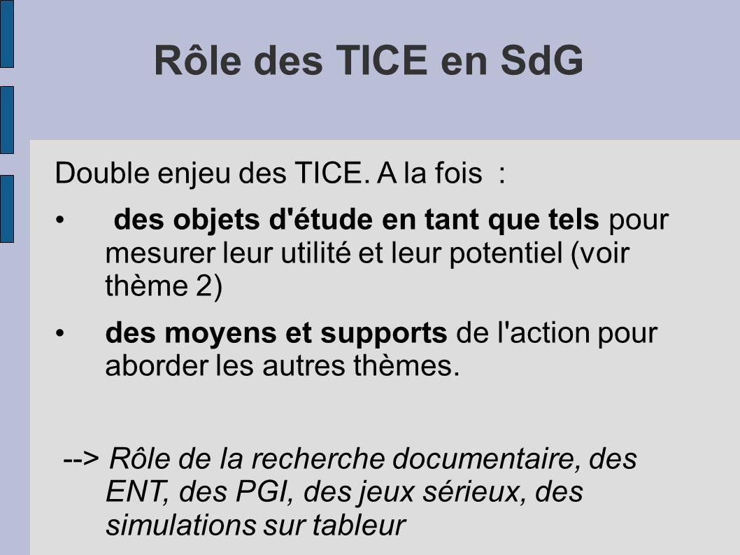 Rôle des TICE en SdG Double enjeu des TICE. A la fois : des objets d'étude en tant que tels pour mesurer leur utilité et leur potentiel (voir thème 2)