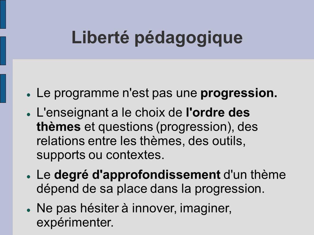 Liberté pédagogique Le programme n'est pas une progression. L'enseignant a le choix de l'ordre des thèmes et questions (progression), des relations en