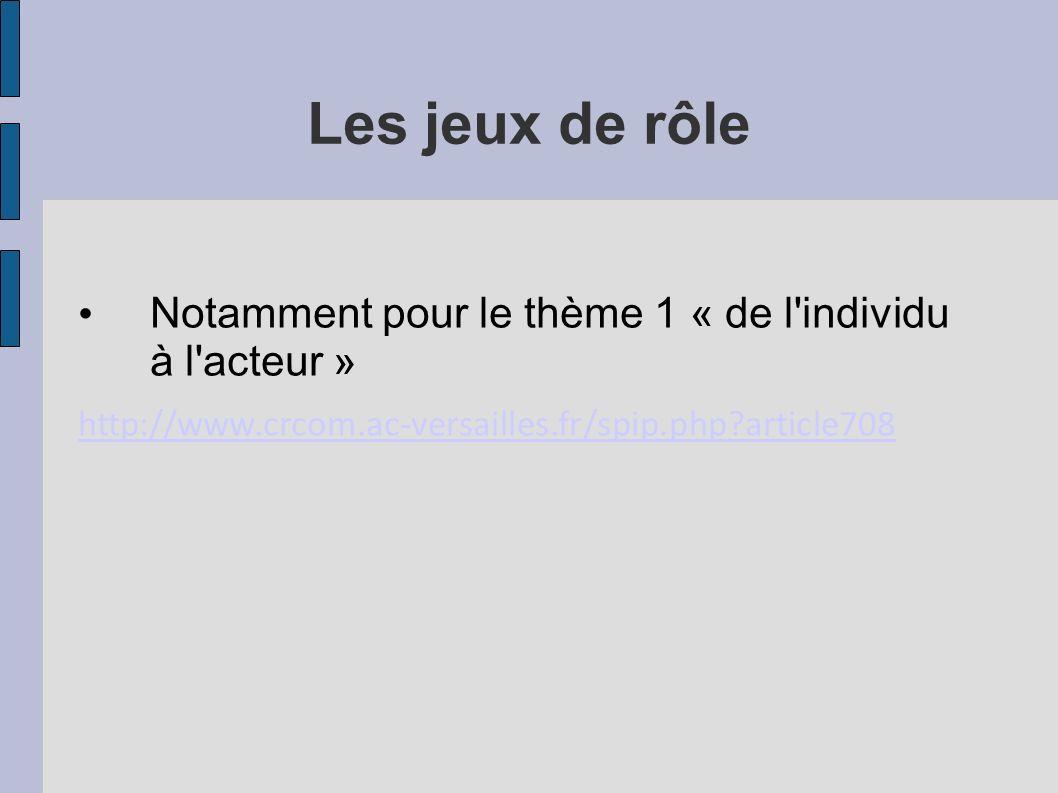 Les jeux de rôle Notamment pour le thème 1 « de l'individu à l'acteur » http://www.crcom.ac-versailles.fr/spip.php?article708