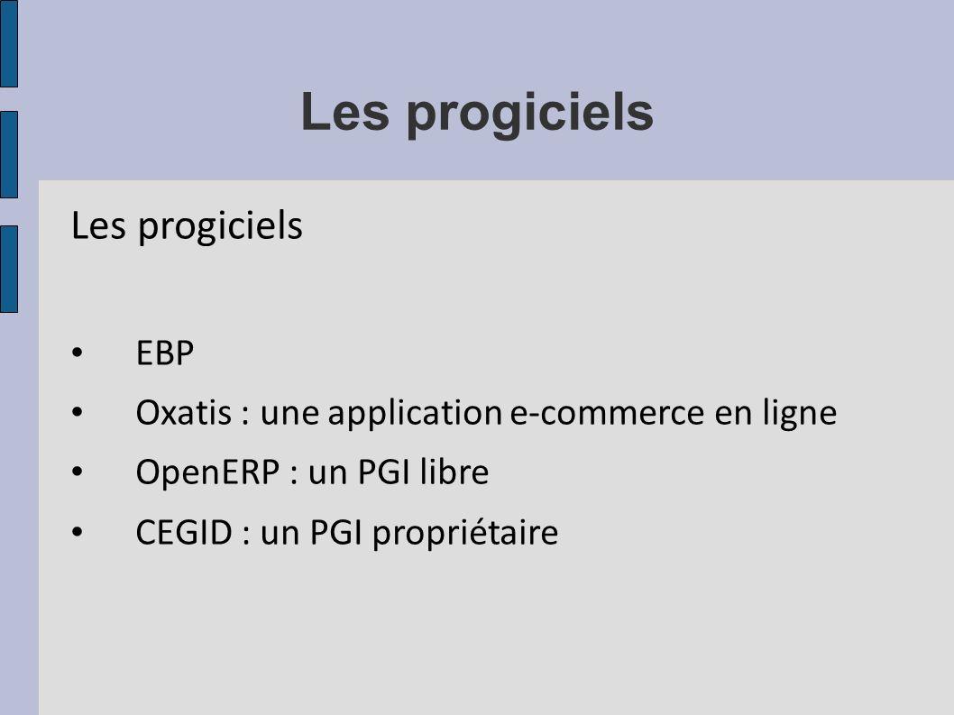 Les progiciels EBP Oxatis : une application e-commerce en ligne OpenERP : un PGI libre CEGID : un PGI propriétaire