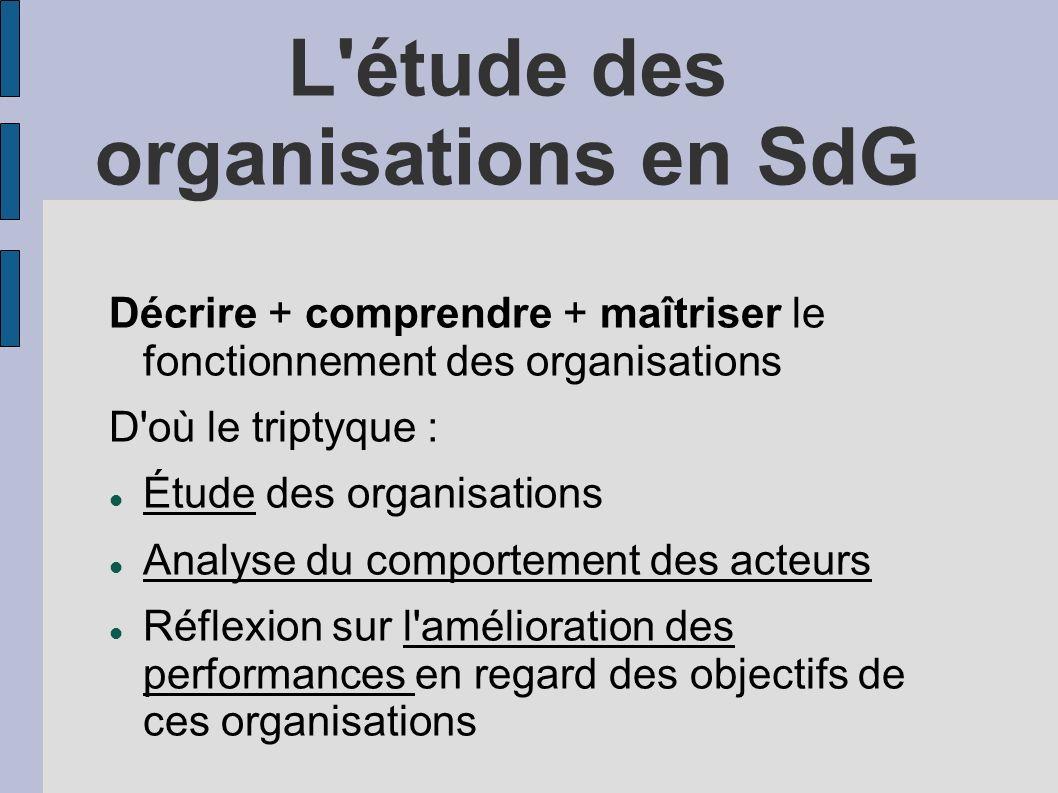 L'étude des organisations en SdG Décrire + comprendre + maîtriser le fonctionnement des organisations D'où le triptyque : Étude des organisations Anal
