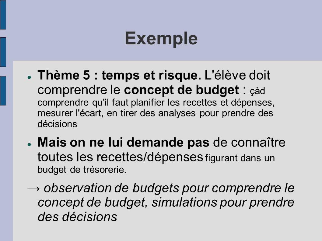 Exemple Thème 5 : temps et risque. L'élève doit comprendre le concept de budget : çàd comprendre qu'il faut planifier les recettes et dépenses, mesure