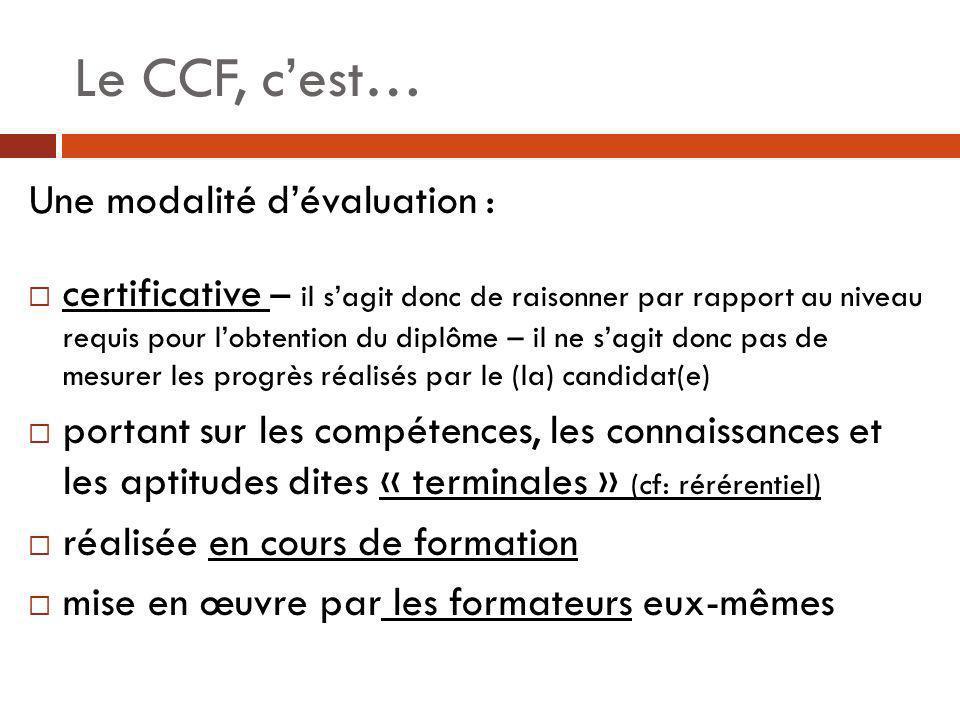 Le CCF, cest… Une évaluation : homogène réalisée sur les lieux où se déroule la formation individualisée réalisée par sondage - les compétences non évaluées sont donc réputées acquises