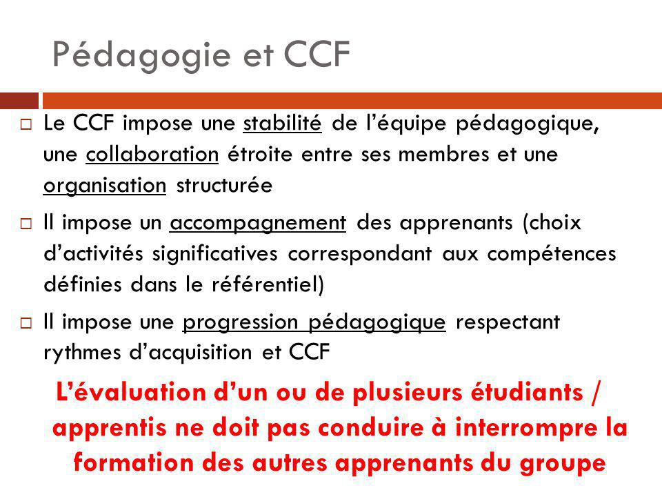 Responsabilités des évaluateurs/formateurs Ils conçoivent les situations dévaluation – elles sont construites en fonction des compétences à évaluer (référentiel), de conditions de réalisation de lactivité (référentiel), de la performance attendue (référentiel), de lactivité réalisée (dossier du candidat) Ils organisent le CCF, en relation avec léquipe de direction du lycée (calendrier, convocations) Ils évaluent en fonction de critères de performance (cf: grille dévaluation figurant dans la circulaire dorganisation) Ils proposent une note