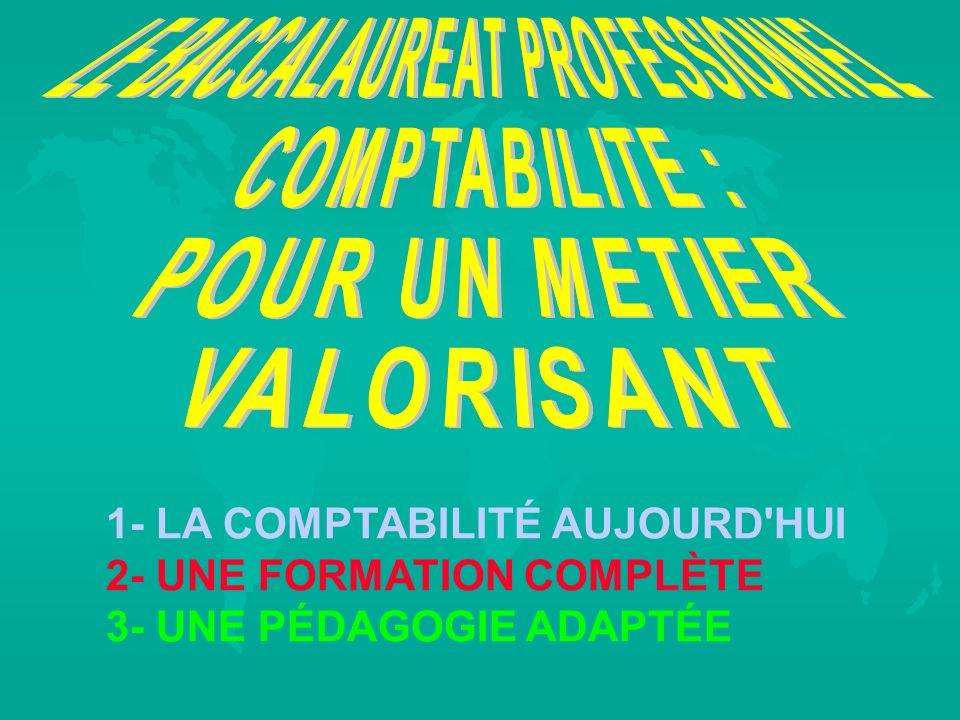 1- LA COMPTABILITÉ AUJOURD'HUI 2- UNE FORMATION COMPLÈTE 3- UNE PÉDAGOGIE ADAPTÉE