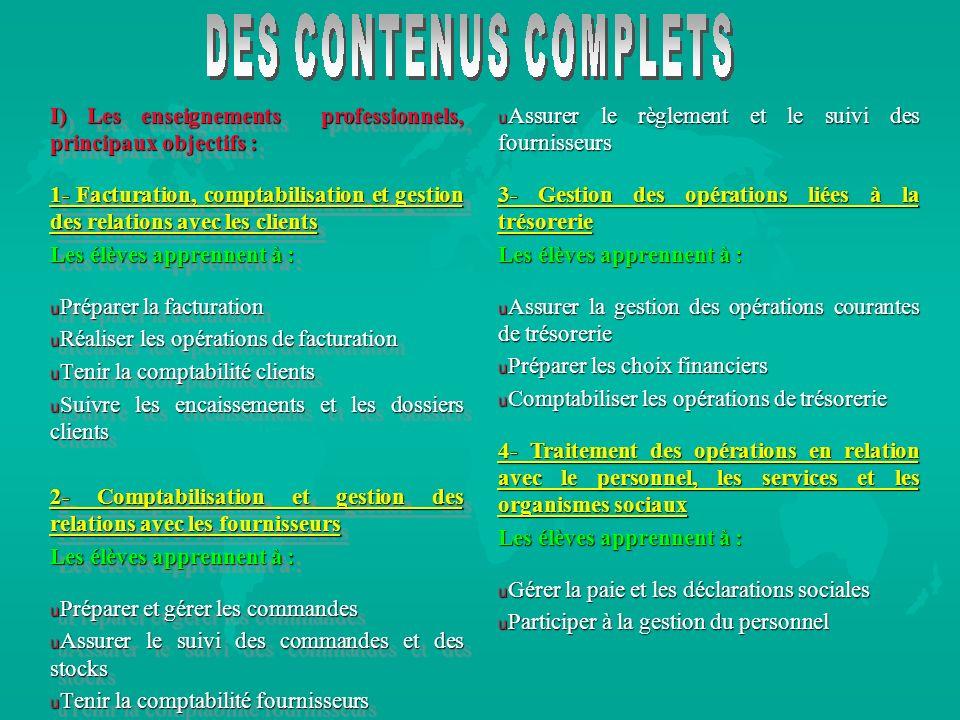 I) Les enseignements professionnels, principaux objectifs : 1- Facturation, comptabilisation et gestion des relations avec les clients Les élèves appr