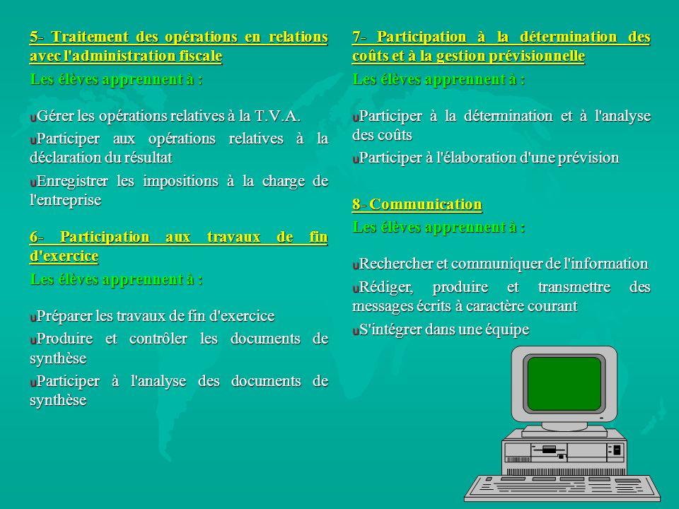 5- Traitement des opérations en relations avec l'administration fiscale Les élèves apprennent à : u Gérer les opérations relatives à la T.V.A. u Parti