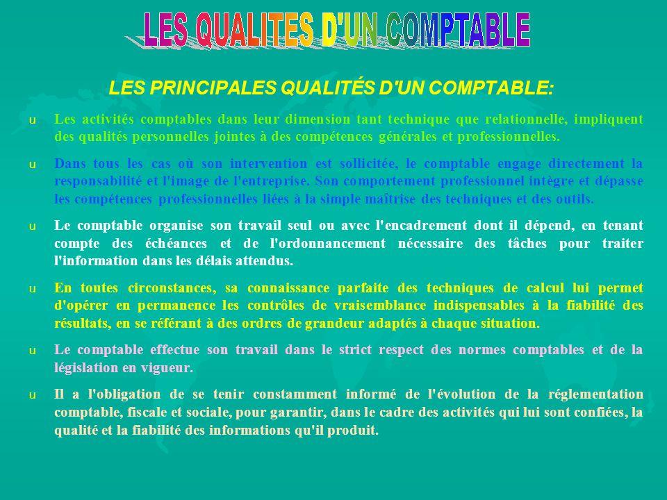 LES PRINCIPALES QUALITÉS D'UN COMPTABLE: u u Les activités comptables dans leur dimension tant technique que relationnelle, impliquent des qualités pe