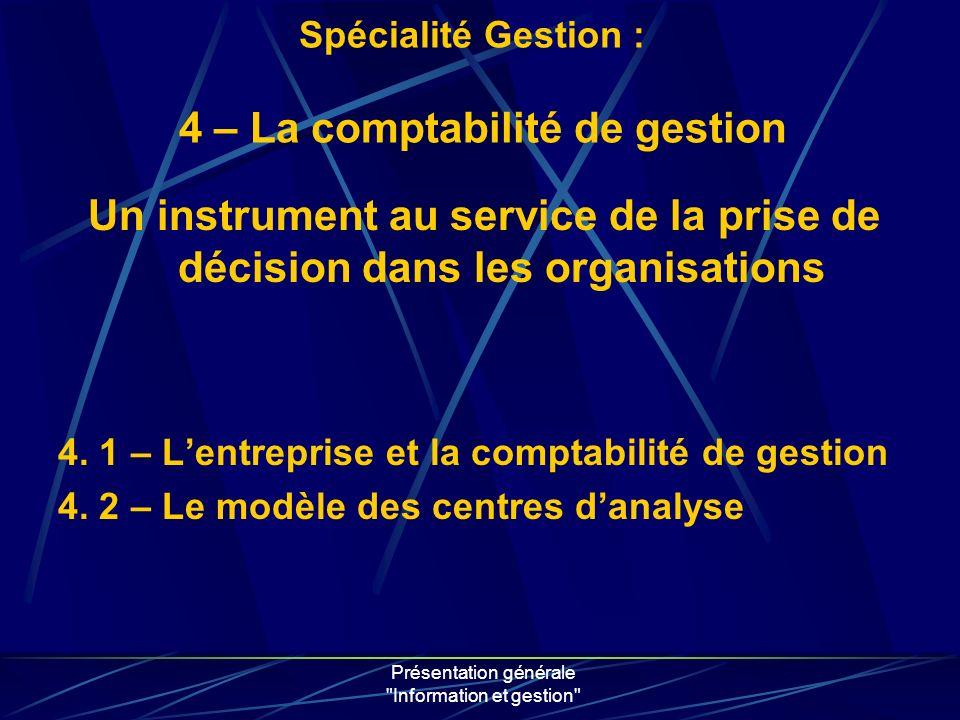 Présentation générale Information et gestion 4. 1 – Lentreprise et la comptabilité de gestion 4.