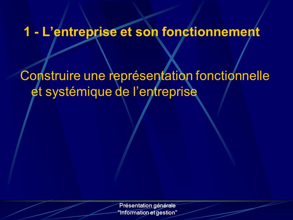 Présentation générale Information et gestion Construire une représentation fonctionnelle et systémique de lentreprise 1 - Lentreprise et son fonctionnement