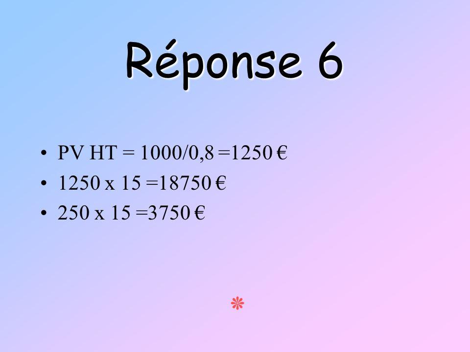 Réponse 6 PV HT = 1000/0,8 =1250 1250 x 15 =18750 250 x 15 =3750 ٭