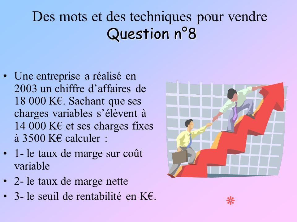 Question n°8 Des mots et des techniques pour vendre Question n°8 Une entreprise a réalisé en 2003 un chiffre daffaires de 18 000 K. Sachant que ses ch