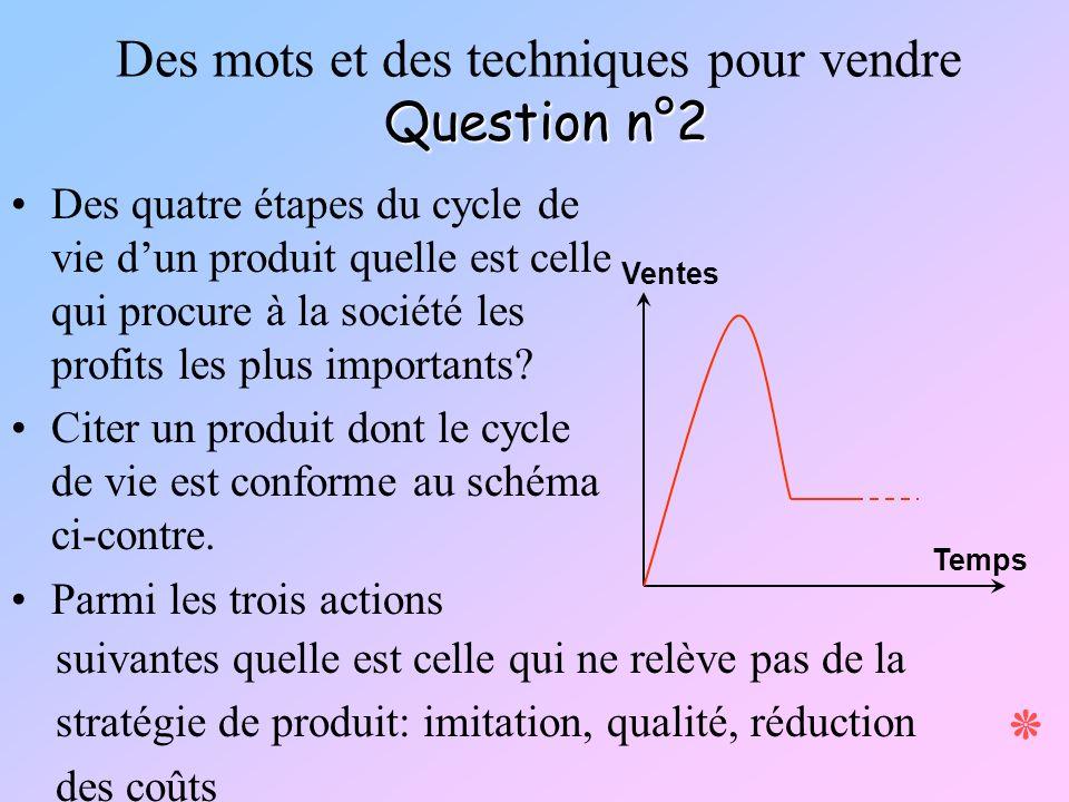 Question n°2 Des mots et des techniques pour vendre Question n°2 ٭ Ventes Temps Des quatre étapes du cycle de vie dun produit quelle est celle qui pro