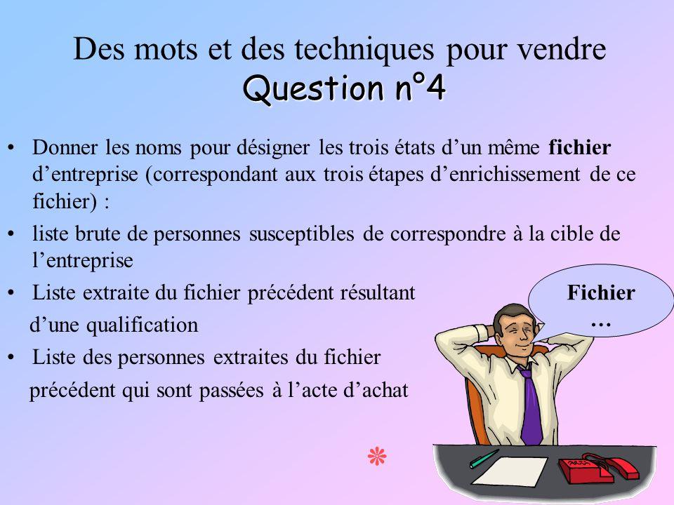 Question n°4 Des mots et des techniques pour vendre Question n°4 Donner les noms pour désigner les trois états dun même fichier dentreprise (correspon