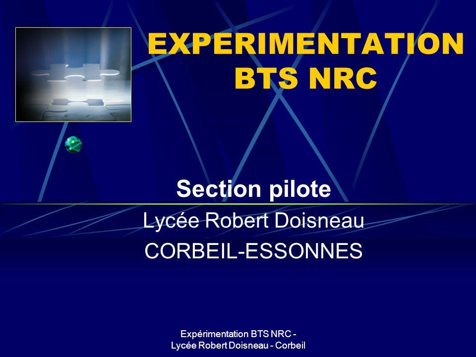 Expérimentation BTS NRC - Lycée Robert Doisneau - Corbeil PLAN Principes de lexpérimentation Cadre de lexpérimentation Procédures mises en place Bilan Outils Perspectives