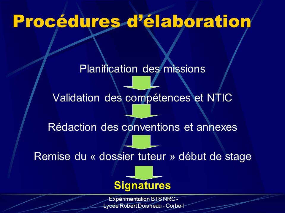Expérimentation BTS NRC - Lycée Robert Doisneau - Corbeil Procédures délaboration Planification des missions Validation des compétences et NTIC Rédact