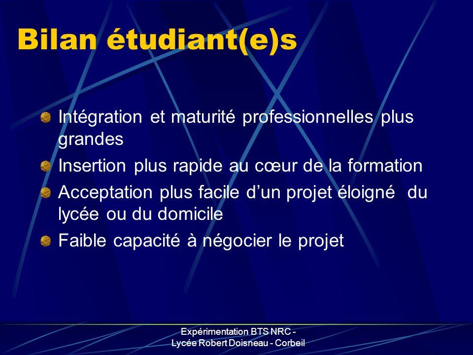 Expérimentation BTS NRC - Lycée Robert Doisneau - Corbeil Bilan étudiant(e)s Intégration et maturité professionnelles plus grandes Insertion plus rapi