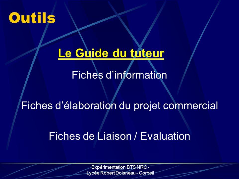 Expérimentation BTS NRC - Lycée Robert Doisneau - Corbeil Outils Fiches dinformation Fiches délaboration du projet commercial Fiches de Liaison / Eval