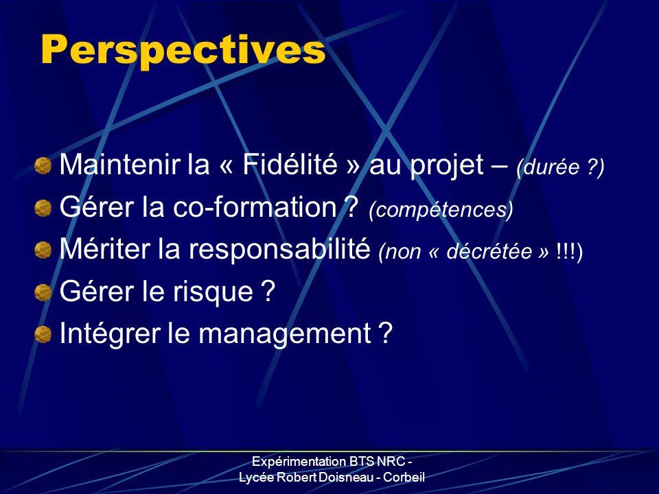 Expérimentation BTS NRC - Lycée Robert Doisneau - Corbeil Perspectives Maintenir la « Fidélité » au projet – (durée ?) Gérer la co-formation ? (compét