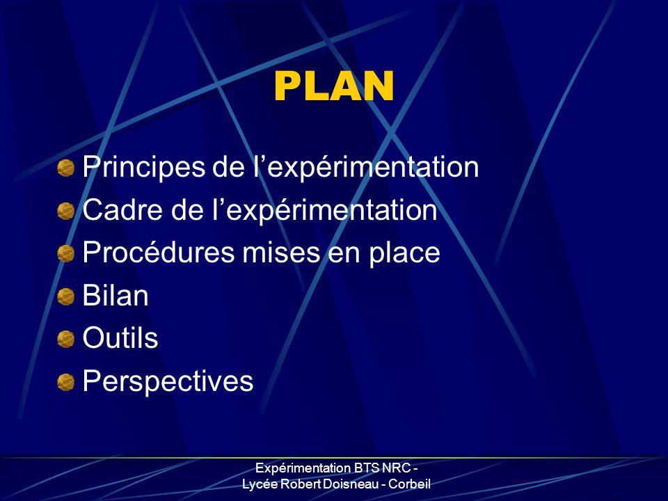 Expérimentation BTS NRC - Lycée Robert Doisneau - Corbeil PLAN Principes de lexpérimentation Cadre de lexpérimentation Procédures mises en place Bilan