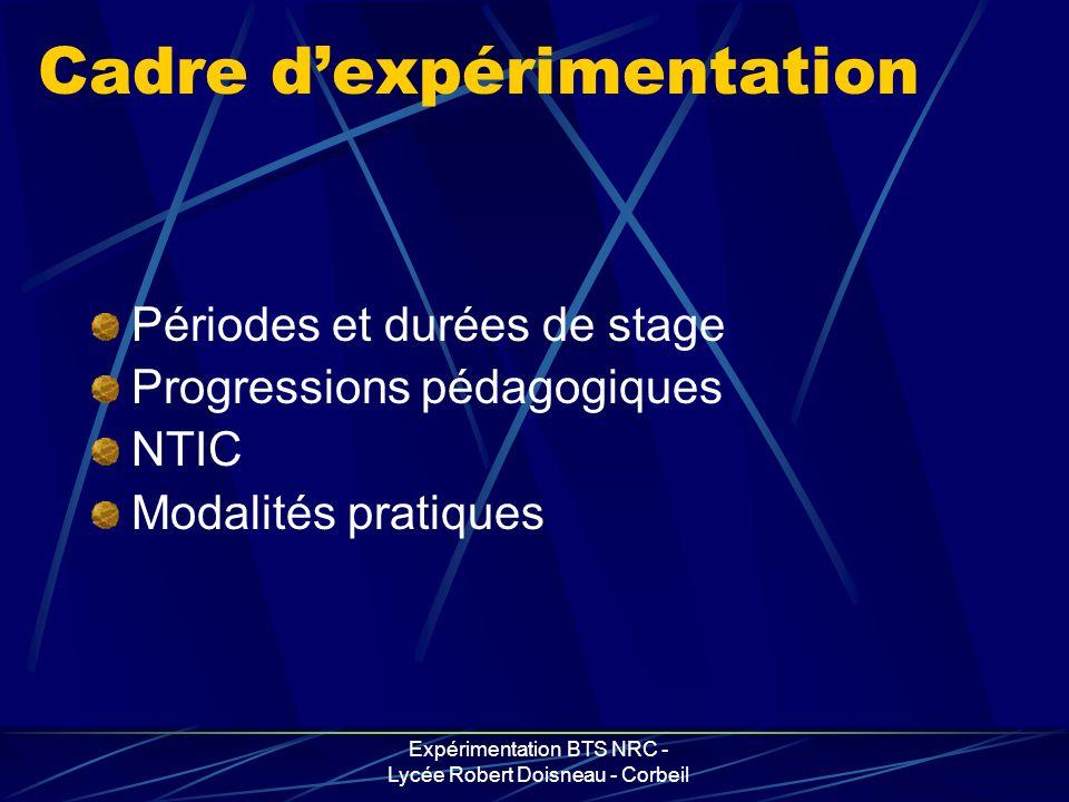 Expérimentation BTS NRC - Lycée Robert Doisneau - Corbeil Cadre dexpérimentation Périodes et durées de stage Progressions pédagogiques NTIC Modalités