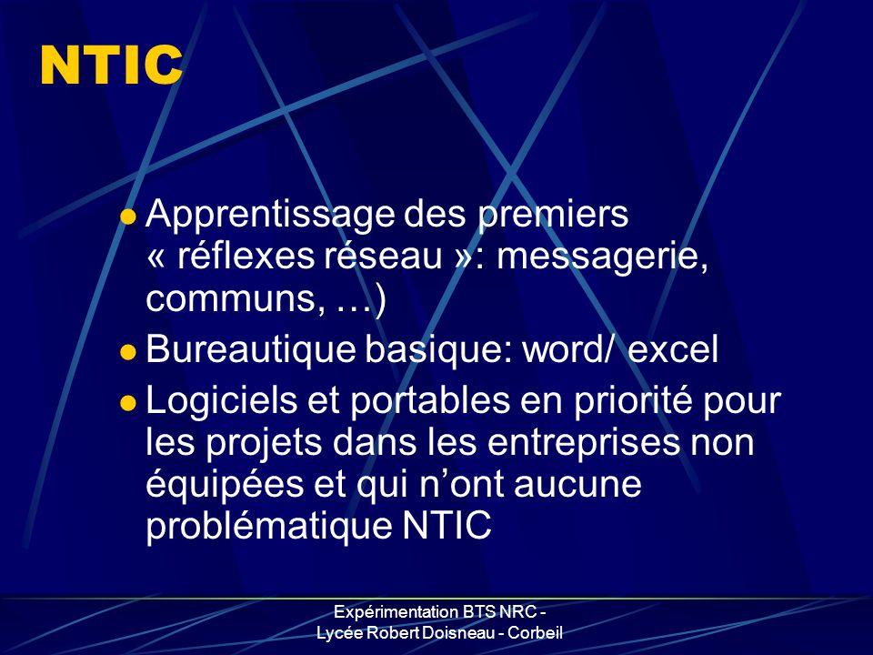 Expérimentation BTS NRC - Lycée Robert Doisneau - Corbeil NTIC Apprentissage des premiers « réflexes réseau »: messagerie, communs, …) Bureautique bas