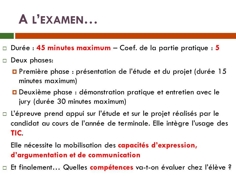 A L EXAMEN … Durée : 45 minutes maximum – Coef.