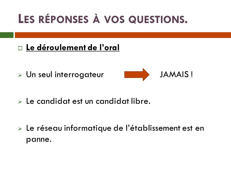 L ES RÉPONSES À VOS QUESTIONS.Le déroulement de loral Un seul interrogateur JAMAIS .