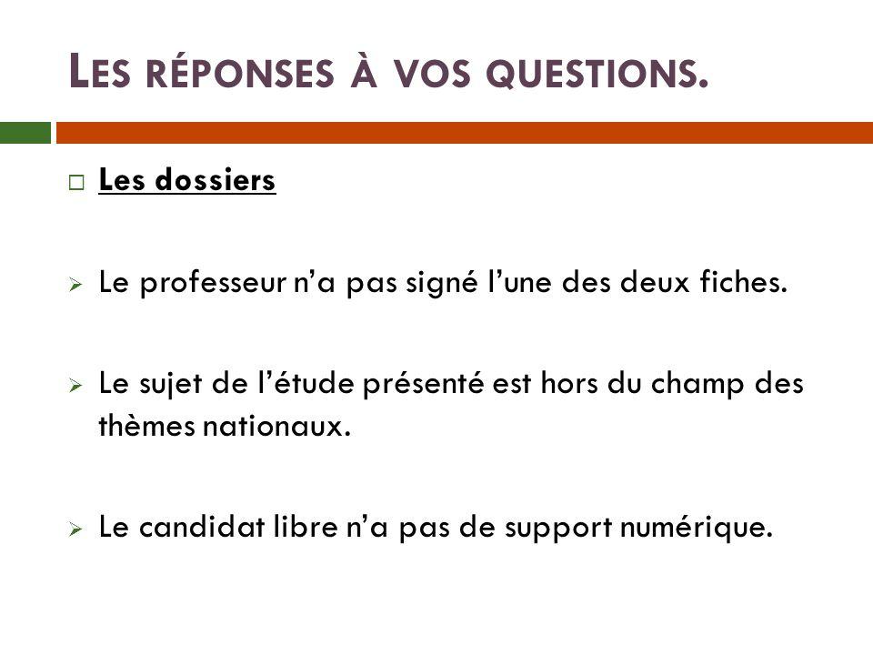 L ES RÉPONSES À VOS QUESTIONS.Les dossiers Le professeur na pas signé lune des deux fiches.
