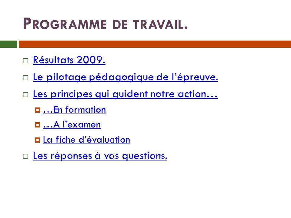 P ROGRAMME DE TRAVAIL.Résultats 2009. Le pilotage pédagogique de lépreuve.