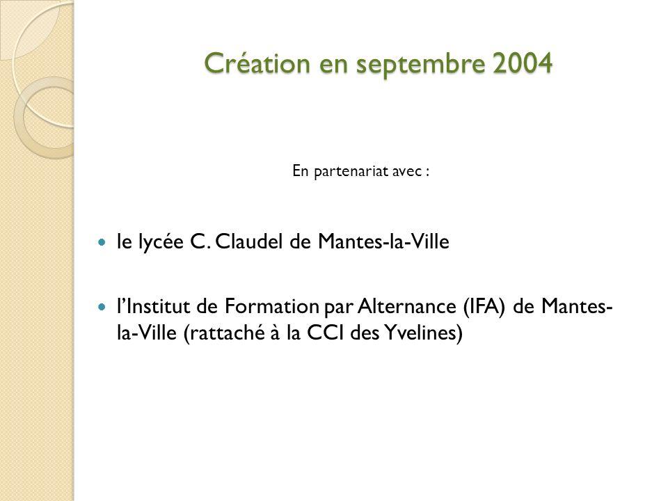 Création en septembre 2004 En partenariat avec : le lycée C. Claudel de Mantes-la-Ville lInstitut de Formation par Alternance (IFA) de Mantes- la-Vill