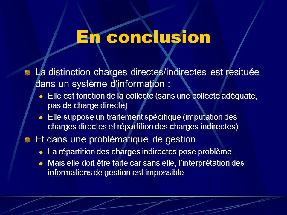 En conclusion La distinction charges directes/indirectes est resituée dans un système dinformation : Elle est fonction de la collecte (sans une collec
