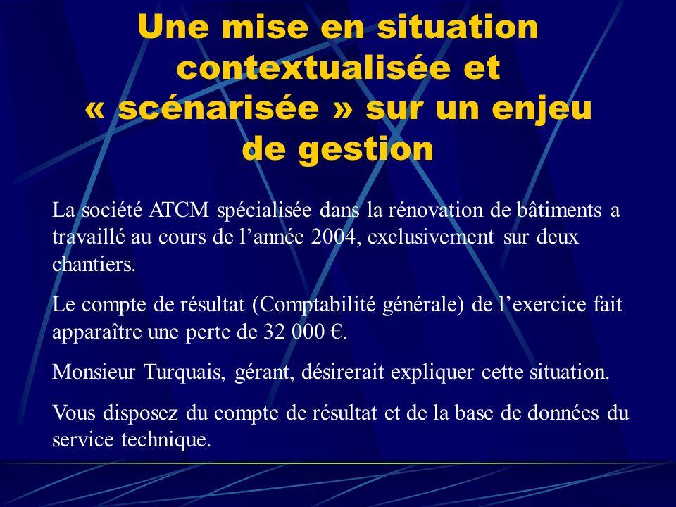 Une mise en situation contextualisée et « scénarisée » sur un enjeu de gestion La société ATCM spécialisée dans la rénovation de bâtiments a travaillé