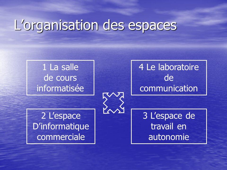 Lorganisation des espaces 1 La salle de cours informatisée 3 Lespace de travail en autonomie 2 Lespace Dinformatique commerciale 4 Le laboratoire de communication