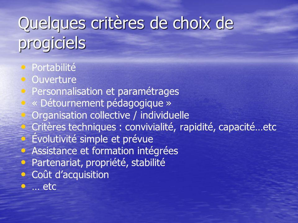 Quelques critères de choix de progiciels Portabilité Ouverture Personnalisation et paramétrages « Détournement pédagogique » Organisation collective /