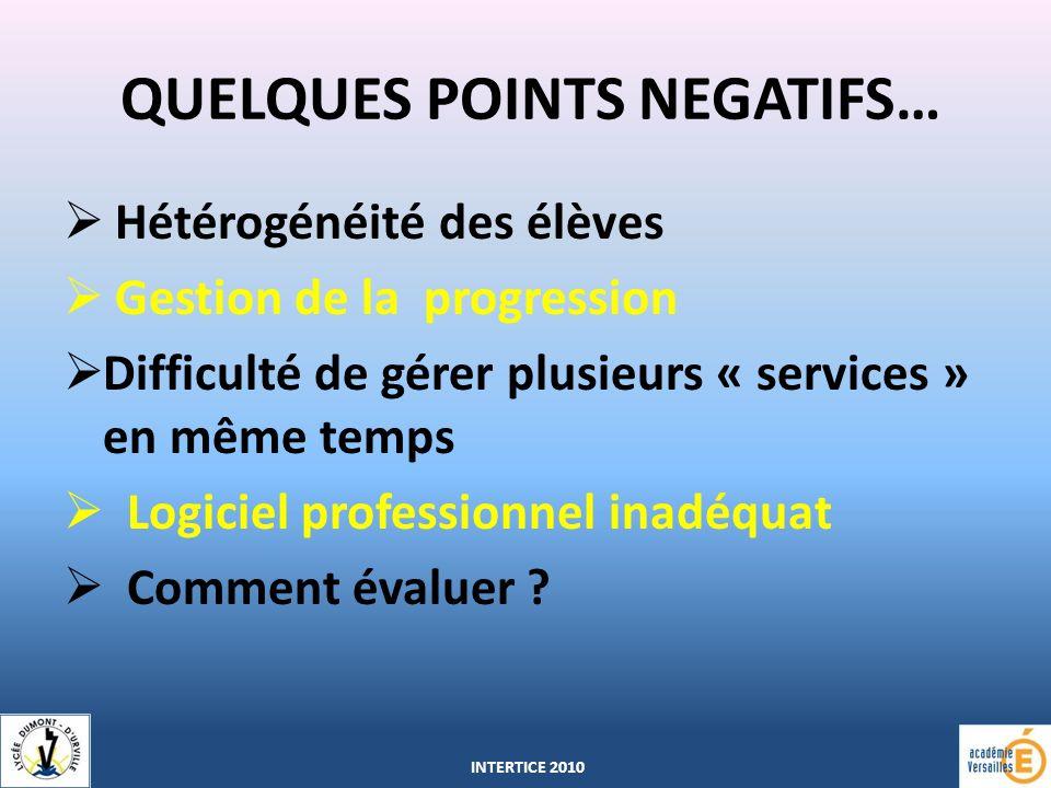 QUELQUES POINTS NEGATIFS… Hétérogénéité des élèves Gestion de la progression Difficulté de gérer plusieurs « services » en même temps Logiciel professionnel inadéquat Comment évaluer .