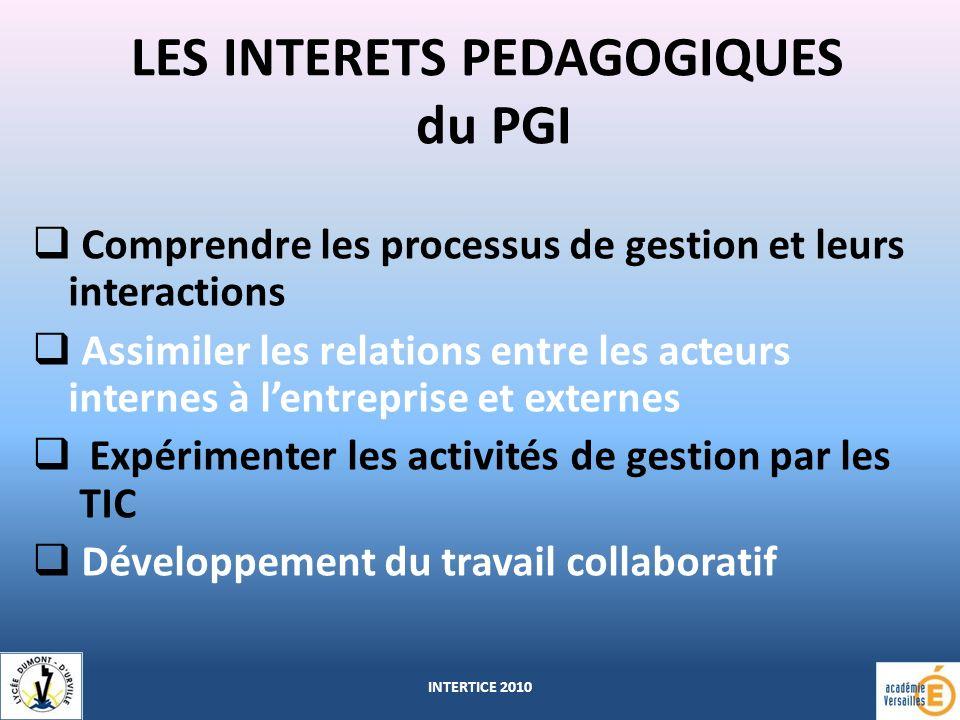 LES INTERETS PEDAGOGIQUES du PGI Comprendre les processus de gestion et leurs interactions Assimiler les relations entre les acteurs internes à lentreprise et externes Expérimenter les activités de gestion par les TIC Développement du travail collaboratif INTERTICE 2010