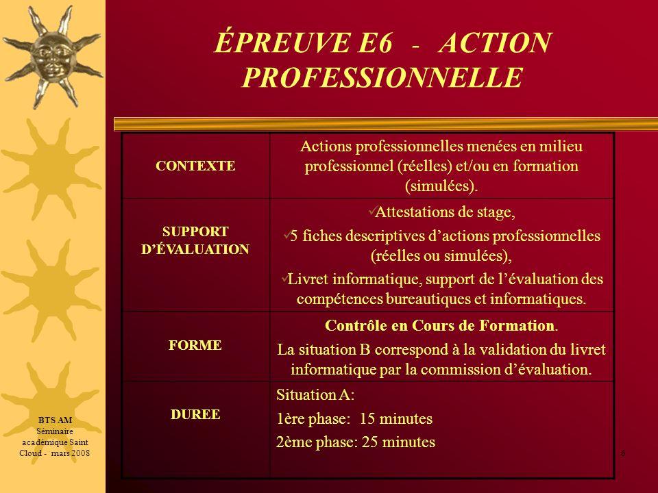 ÉPREUVE E6 - ACTION PROFESSIONNELLE SITUATION DEVALUATION A : 40 minutes, Après le dernier stage 7 15 minutes: Environ 10 minutes pour la présentation de lensemble des stages, puis 5 minutes dentretien avec le jury.