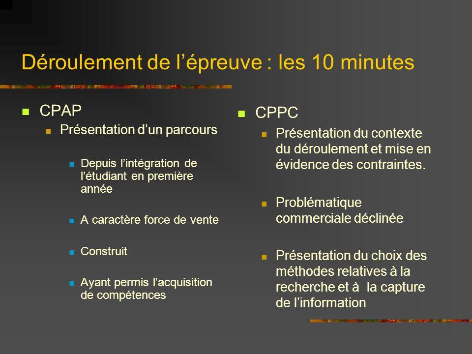 Déroulement de lépreuve : les 10 minutes CPAP Présentation dun parcours Depuis lintégration de létudiant en première année A caractère force de vente